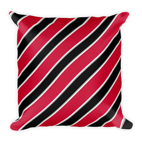 TEAM STRIPES RED BLACK WHITE AND GRAY Square Pillow