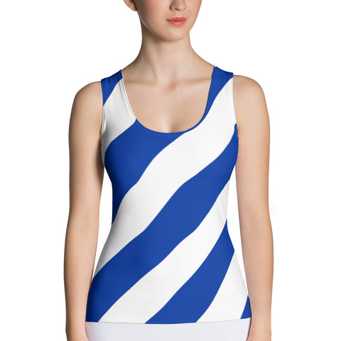 Team Stripes Blue & White Striped Sublimation Cut & Sew Tank Top