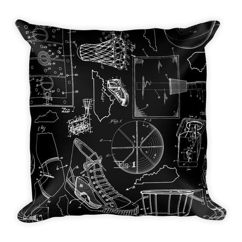 KENTUCKY BASKETBALL PATENTS (BLACK 2) Square Pillow