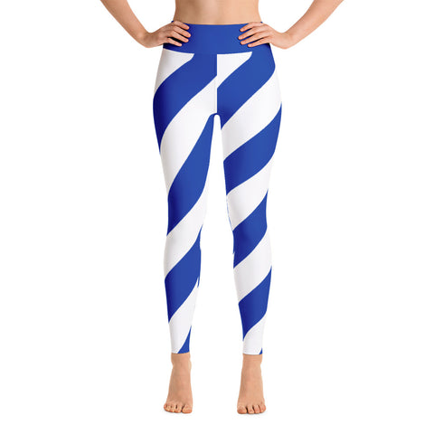 Team Stripes BLUE & WHITE STRIPE Yoga Leggings