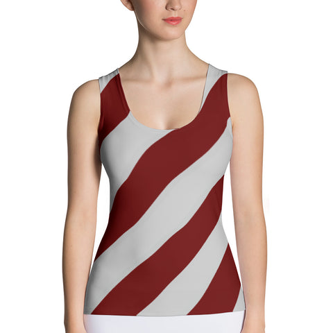 Maroon & Gray Striped Sublimation Cut & Sew Tank Top