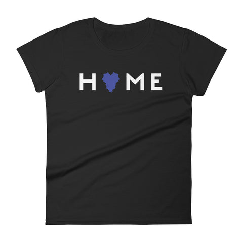 KENTUCKY IS MY HOME (blue heart, white type) Women's short sleeve t-shirt
