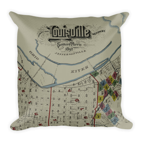 Vintage Louisville Map Premium Pillow #1