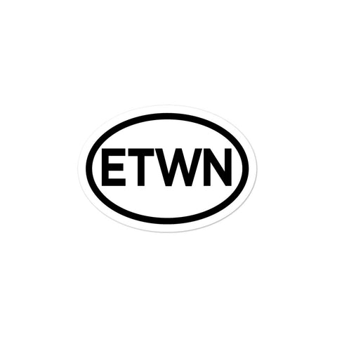 Elizabethtown ETWN E'town Oval Bubble-free stickers