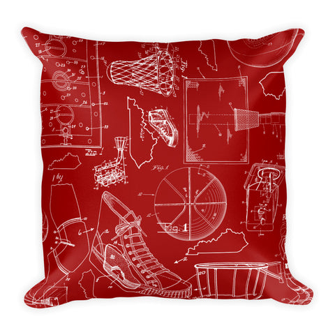 KENTUCKY BASKETBALL PATENTS (RED 2) Square Pillow
