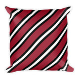 TEAM STRIPES RED, BLACK & WHITE Square Pillow