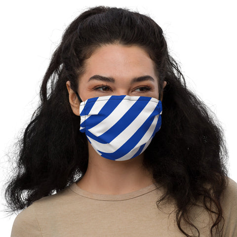 Blue and White Stripes Premium face mask