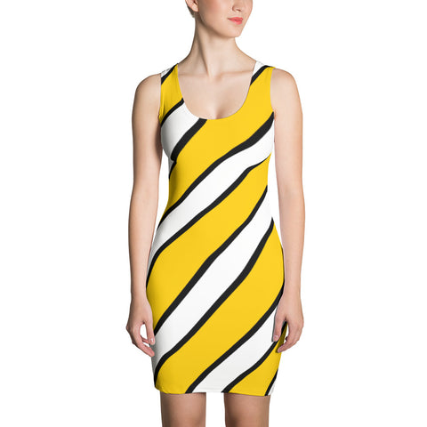 Team Stripes Gold/Yellow, Black, and White Striped Sublimation Cut & Sew Dress