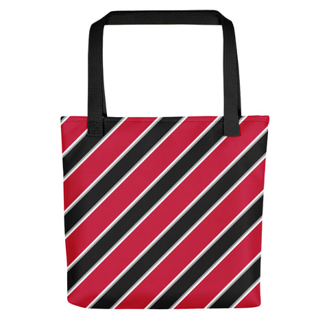 TEAM STRIPES RED BLACK WHITE AND GRAY Tote bag