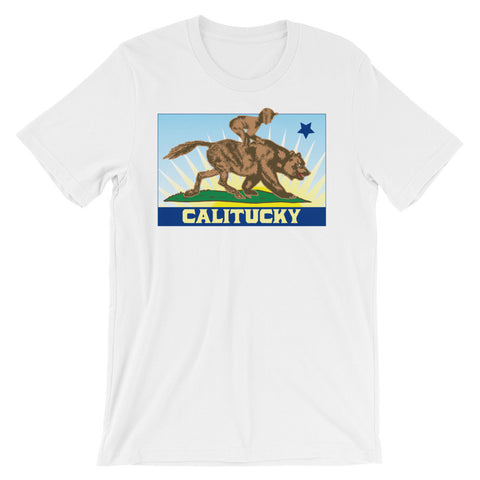 CALITUCKY STATE FLAG (with jockey) Unisex short sleeve t-shirt