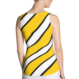 Team Stripes Gold/Yellow, White, and Black Striped Sublimation Cut & Sew Tank Top