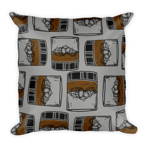 Bourbon Barrel Ice (on gray) Premium Pillow
