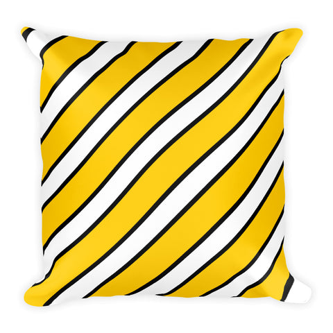 TEAM STRIPES GOLD, WHITE, BLACK Square Pillow