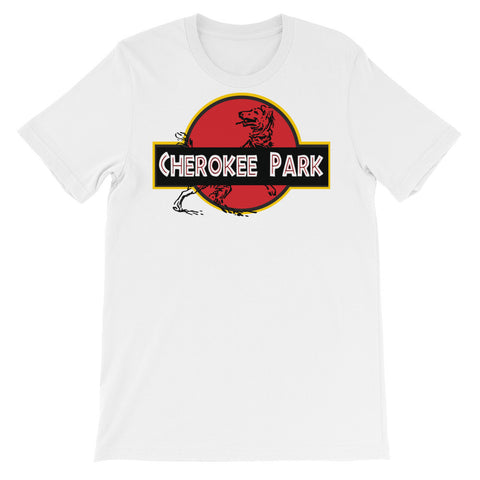 CHEROKEE PARK DINO DOG  Unisex short sleeve t-shirt