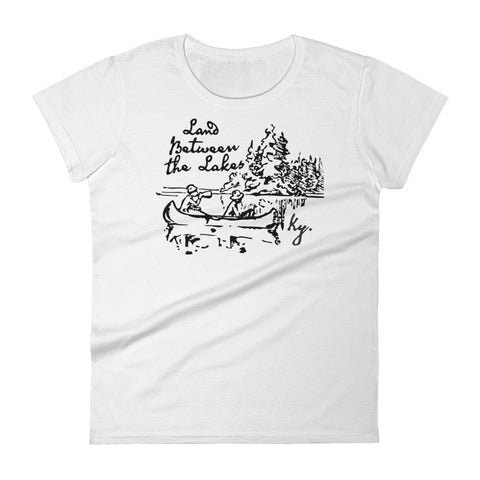 LAND BETWEEN THE LAKES VINTAGE ILLUSTRATION Women's short sleeve t-shirt