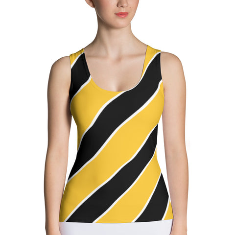 Team Stripes Yellow/Gold, Black, and White Striped (#2) Sublimation Cut & Sew Tank Top