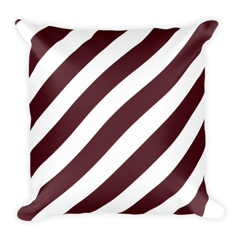 TEAM STRIPES Maroon & White Square Pillow