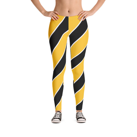 Team Stripes Gold/Yellow, Black, and White Striped (#2) Leggings