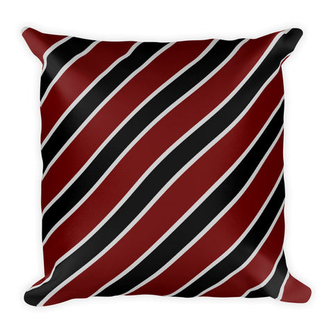 TEAM STRIPES BLACK BURGUNDY GRAY Square Pillow