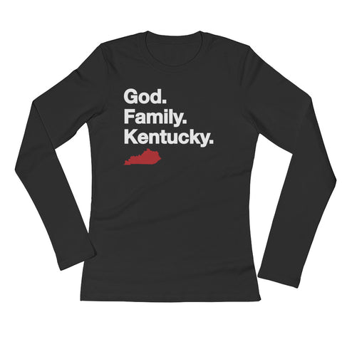 GOD. FAMILY. KENTUCKY. (red) Ladies' Long Sleeve T-Shirt