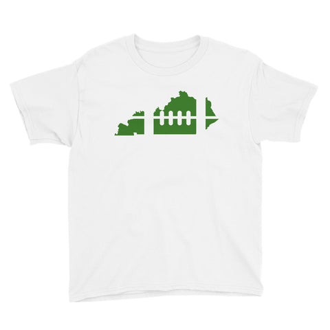 FOOTBALL-SHAPED KENTUCKY (GREEN) Youth Short Sleeve T-Shirt