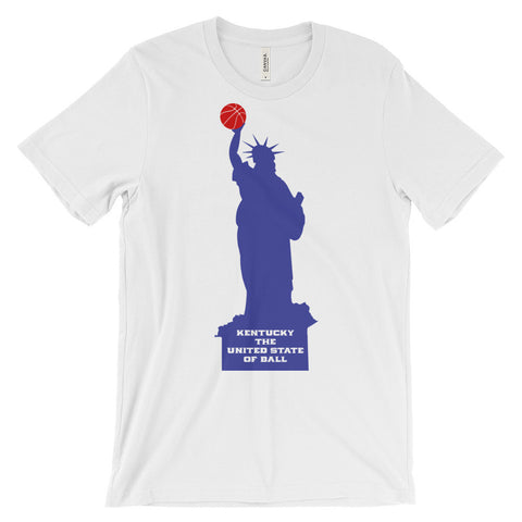 UNITED STATE OF BALL (red ball, blue statue) Unisex short sleeve t-shirt