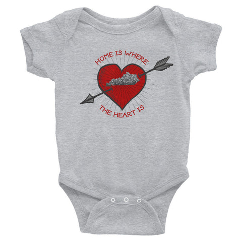 HOME IS WHERE THE HEART IS Infant Bodysuit