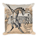 "Kentucky Vintage Horse Illustration ""Cricket Club"" Square Pillow"
