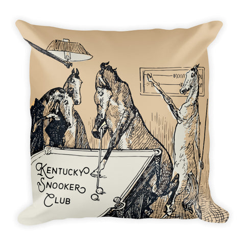 "Kentucky Vintage Horse Illustration ""Snooker Club"" Square Pillow"