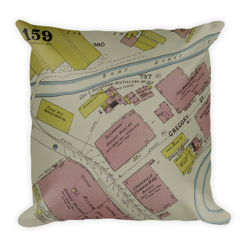Vintage Louisville Map Premium Pillow #2