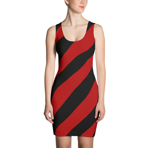 Team Stripes Red & Black Striped Sublimation Cut & Sew Dress