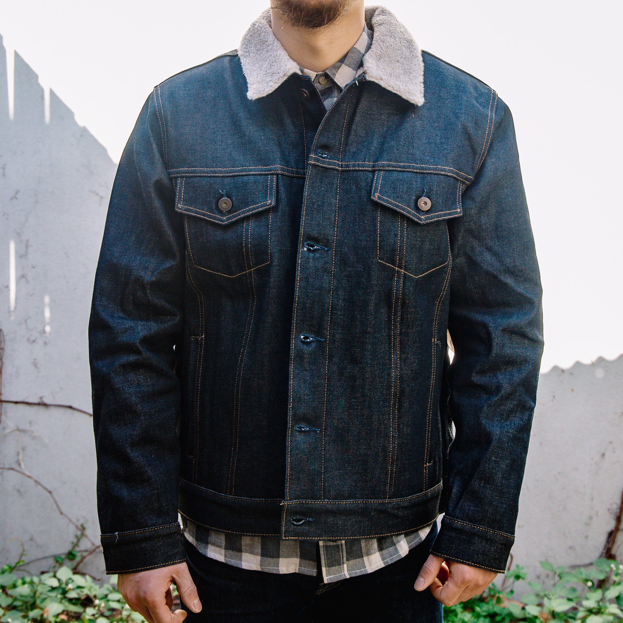 Load image into Gallery viewer, Tellason Jean Jacket 12.5oz Boa Fleece Lining in Indigo