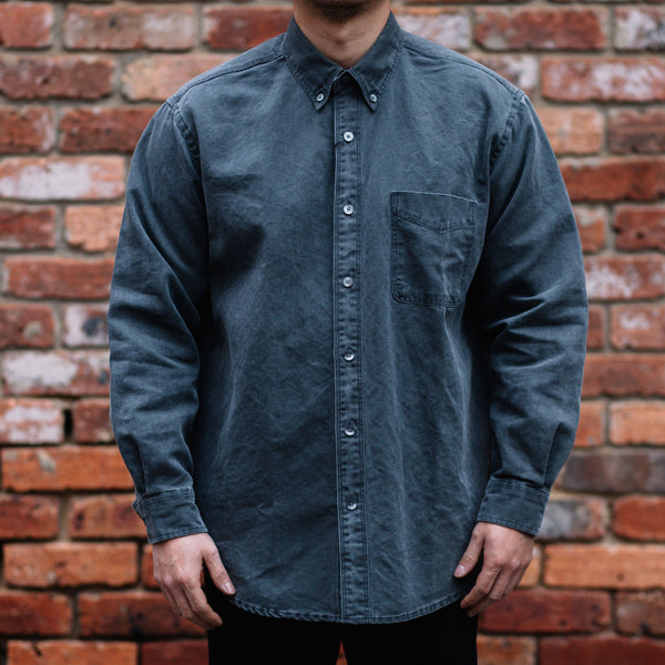FrizmWORKS - PIGMENT DYEING OVERSIZED SHIRT in Charcoal