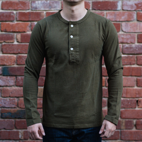Freenote CLoth - Henley Long Sleeves in Olive drab