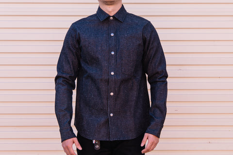 Rogue Territory - Oxford work shirt in Neppy Black Denim