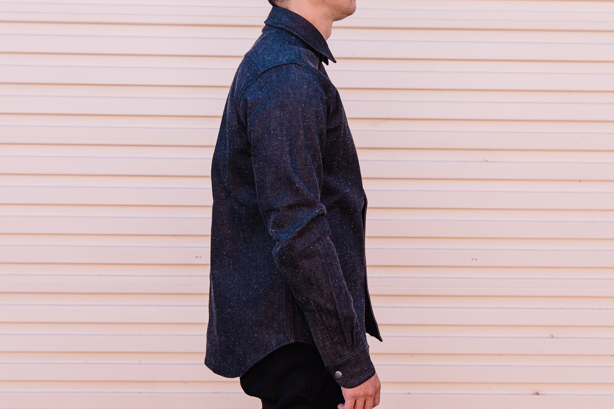 Load image into Gallery viewer, Rogue Territory - Oxford work shirt in Neppy Black Denim