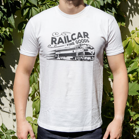 Railcar Vintage Train White Tee