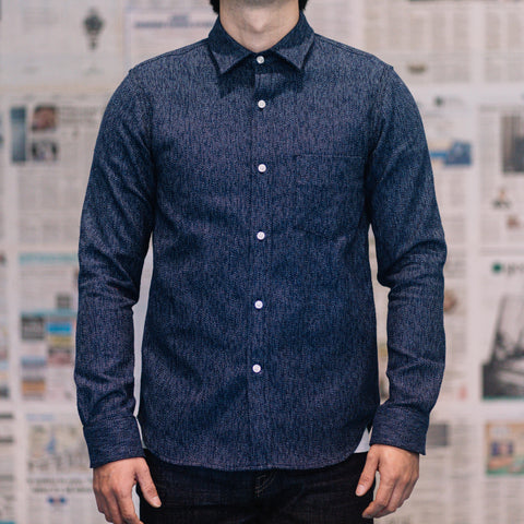 Rogue Territory - Oxford shirt In Variegated Navy Flannel