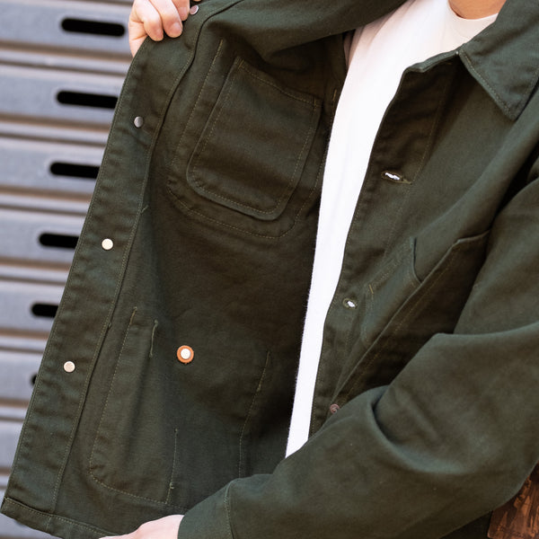 Tellason Coverall Jacket Garment Dyed in Green
