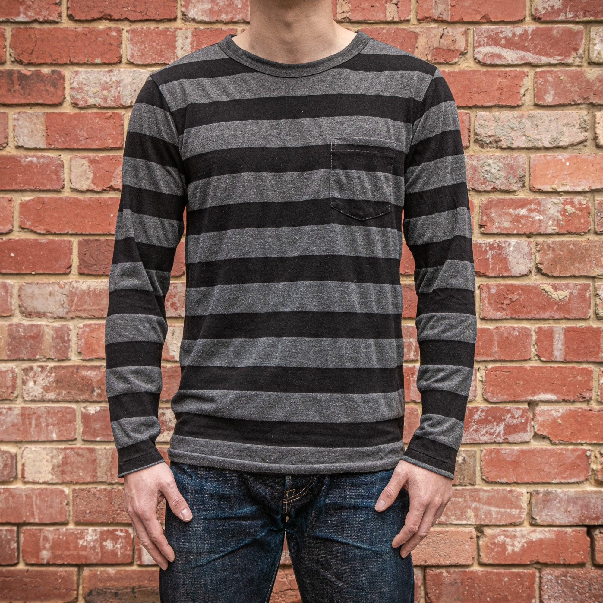 Velva Sheen - 30 stripe L/S pocket tee in Black and Charcoal