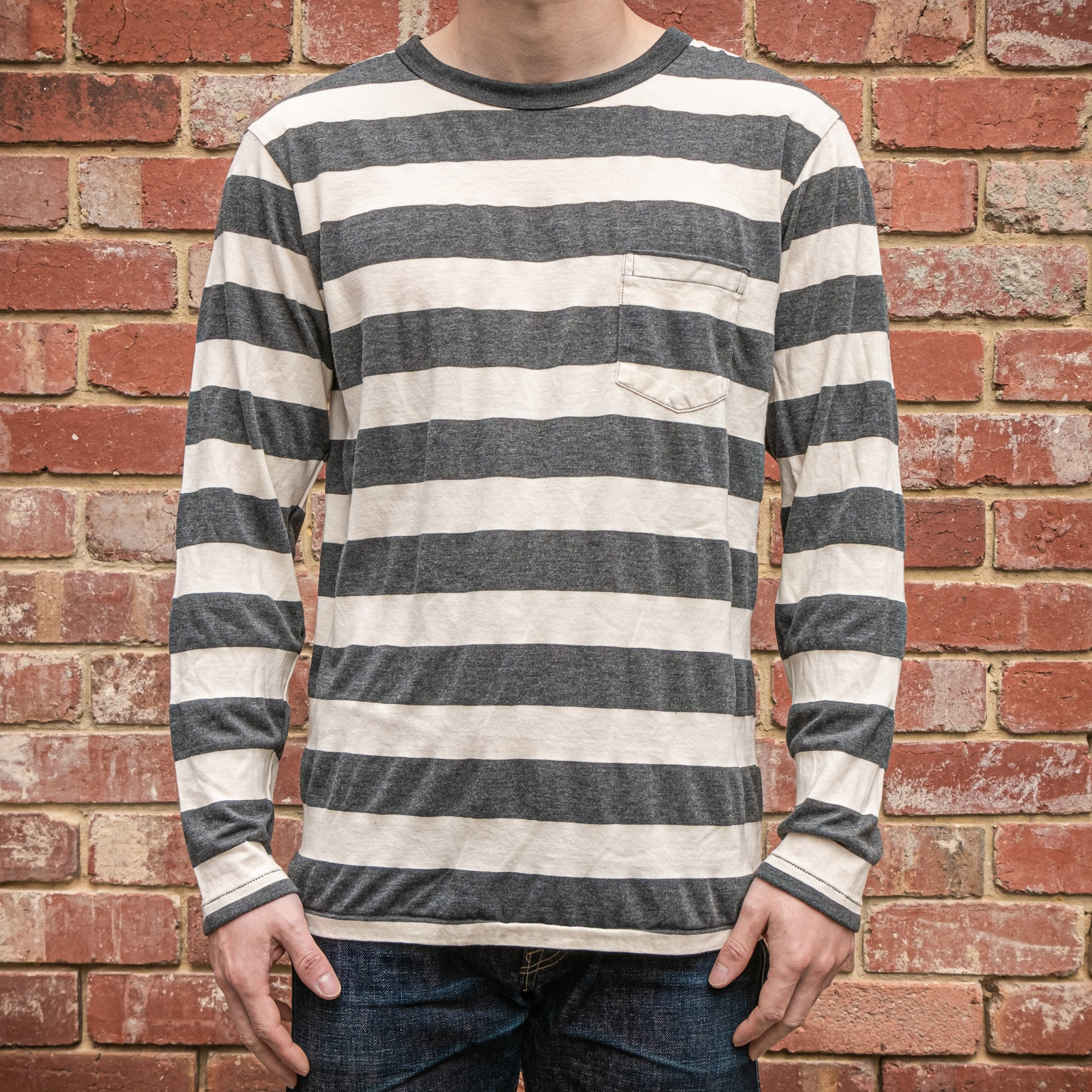 Load image into Gallery viewer, Velva Sheen - 30 stripe L/S pocket tee in White and Charcoal