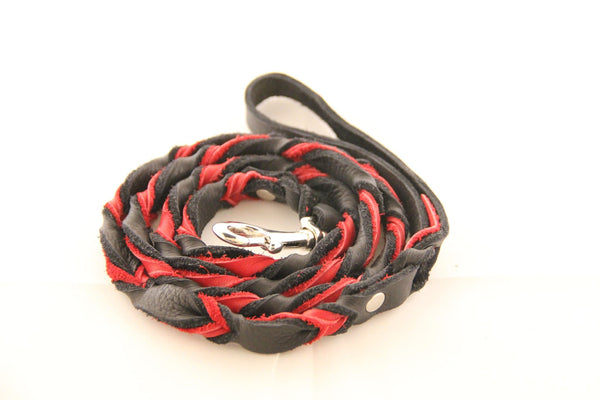 Wright Lead Super Soft Two Color Braided Leather Leashes