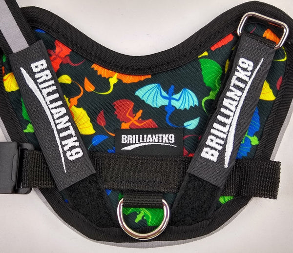 BrilliantK9 Ergonomic Dog Harness December Limited Print Baby Christmas Dragons