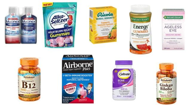 OTC, Vitamins & Supplements Variety Airborn, Mucinex, Centrum