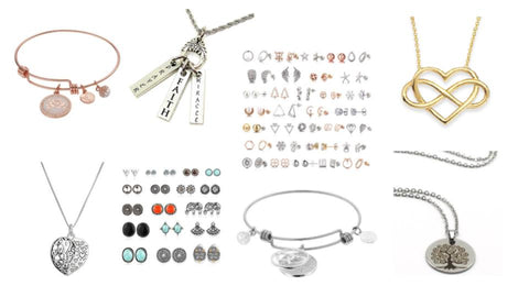 Jewelry Variety: Earrings, Bracelets, Necklaces
