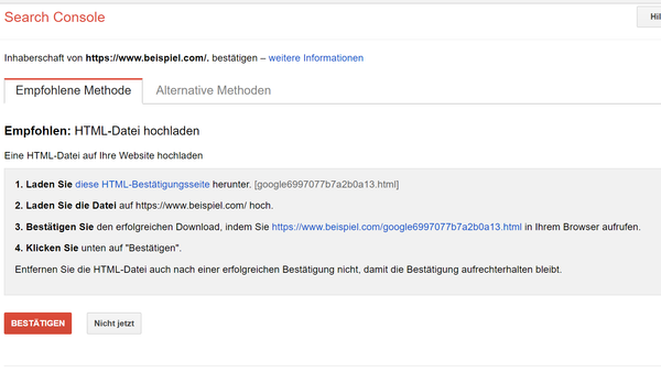 Property verifizieren - Search Console und Shopify