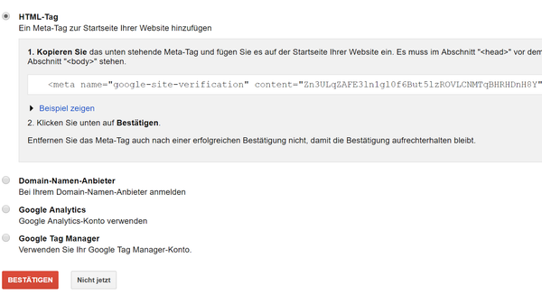 HTML-Tag als Verifizierungsoption - SEO mit Shopify