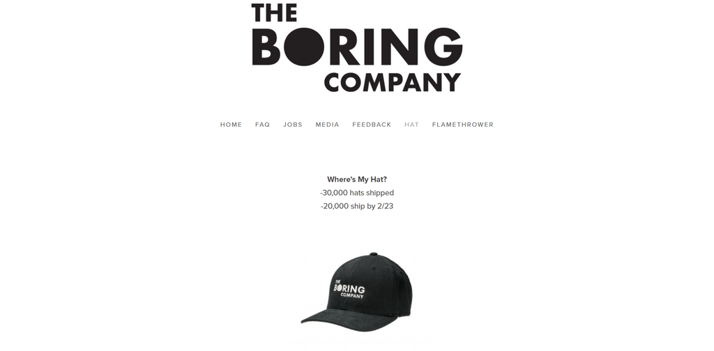 The Boring Company bei Shopify - Eshop Guide
