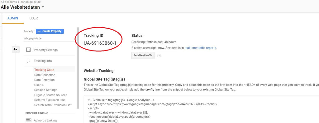 Tracking ID Google Analytics - Eshop Guide