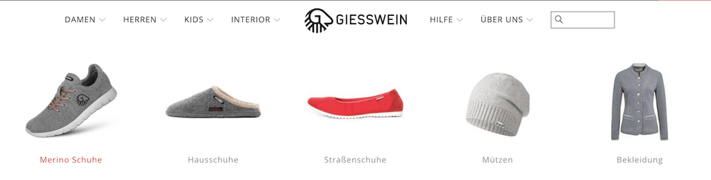 Meganavigation bei Giesswein Shopify Plus | Eshop Guide